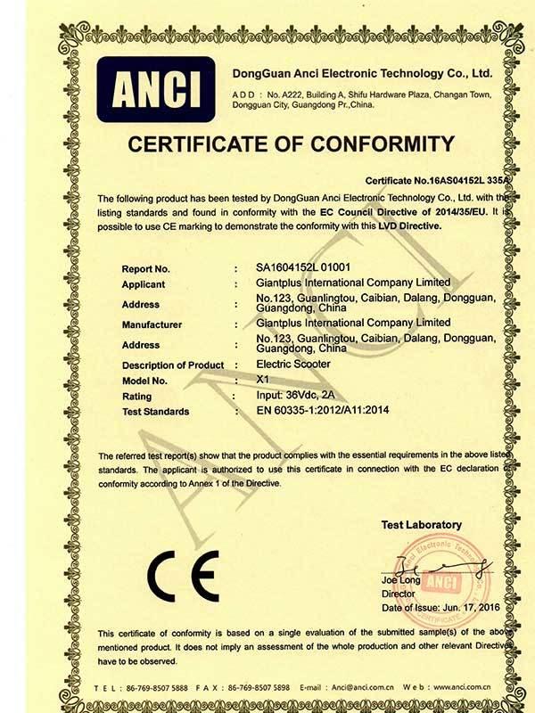 folding-electric-scooter--X1-CE-certificate